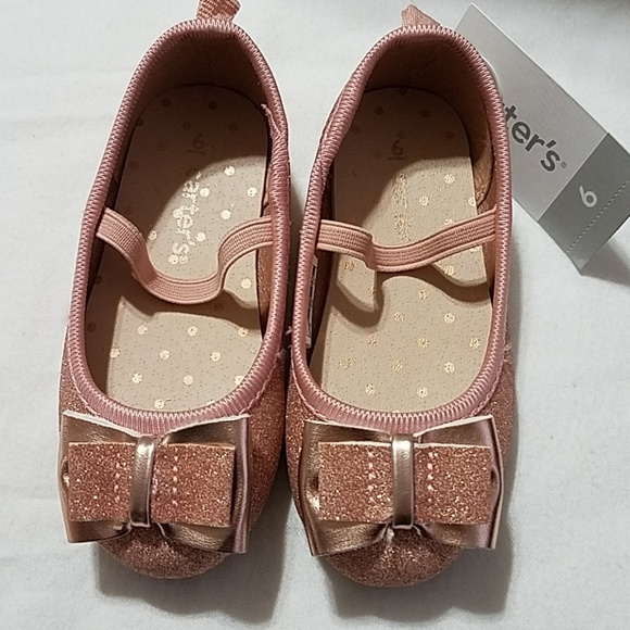 f866accab8c4 Carter's Shoes | Carters Big Bow Rose Gold Glitter Slipons | Poshmark